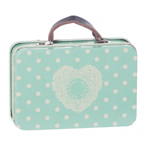 Metal Suitcase - Blue White Dot