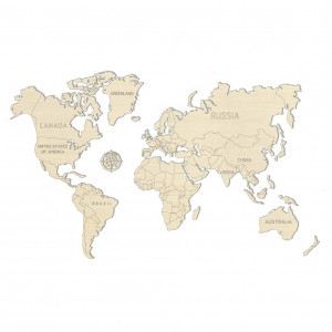 World Map Wood - Large